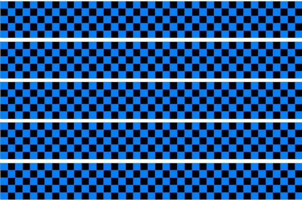 Checker Stripes waterproof Vinyl Sticker vehicle decal SKY BLUE/BLACK